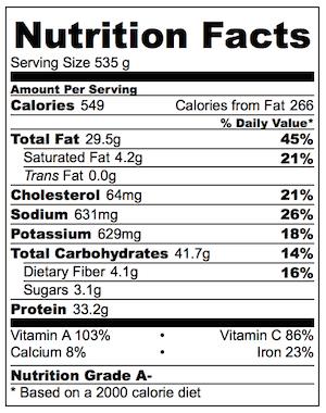 Crispy Chow Mein Nutrition