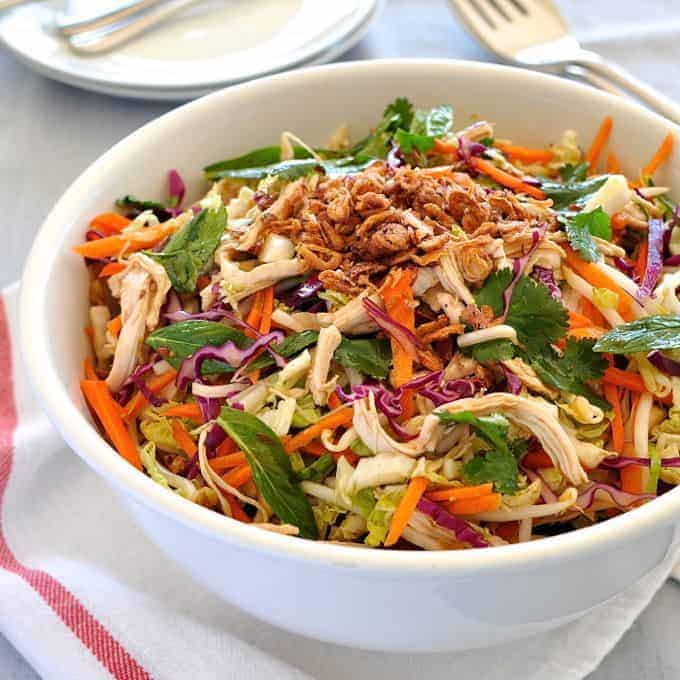Crunchy Asian Chicken Salad in a bowl