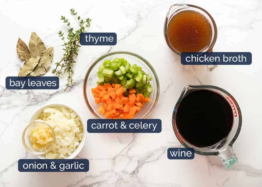Ingredients for red wine sauce for slow cooked beef cheeks