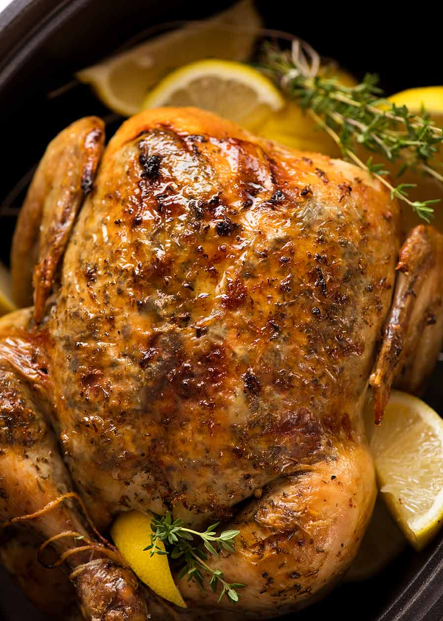 Lemon Garlic Slow Cooker Roast Chicken
