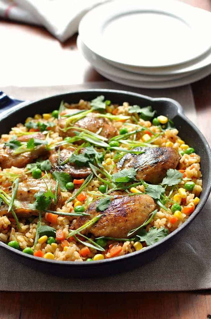 "One Pot Chinese Chicken ""Fried Rice"" in baking dish"