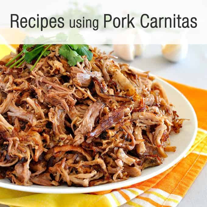 """Recipes Using Pork Carnitas"" banner with a pile of carnitas"