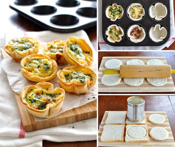 Mini quiches made using sandwich bread! Filled with bacon, cheese and ...