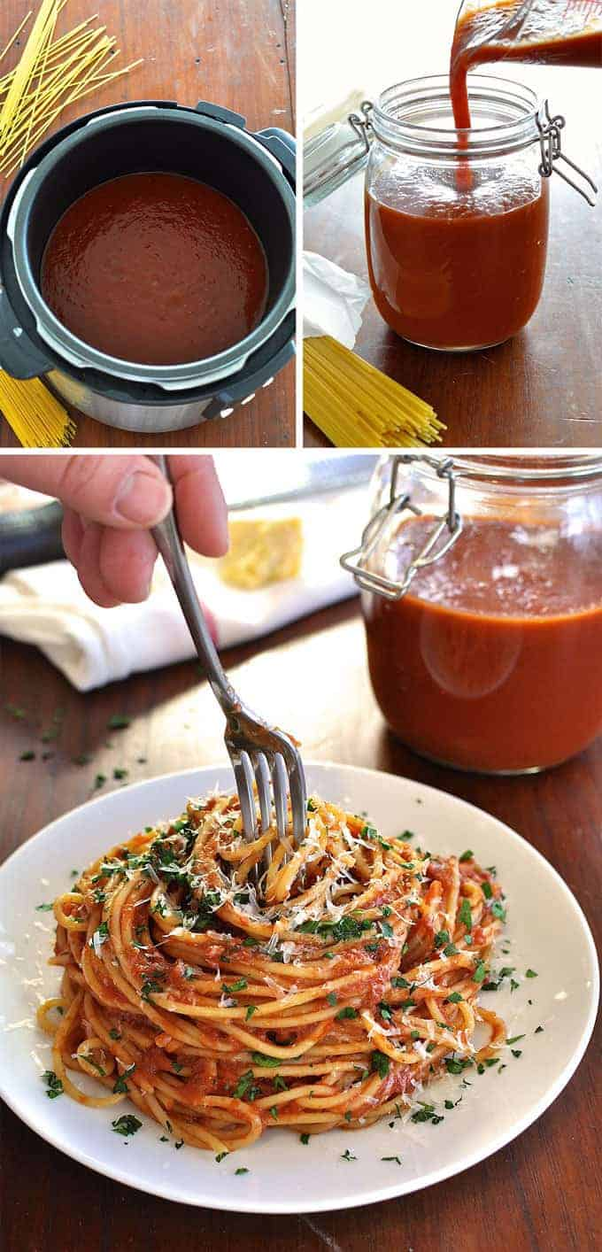 Slow Cooker Marinara Sauce prepared in a slow cooked and bottled