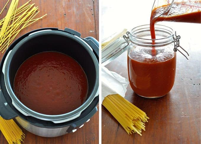 Slow Cooker Marinara Sauce and poured into a bottle