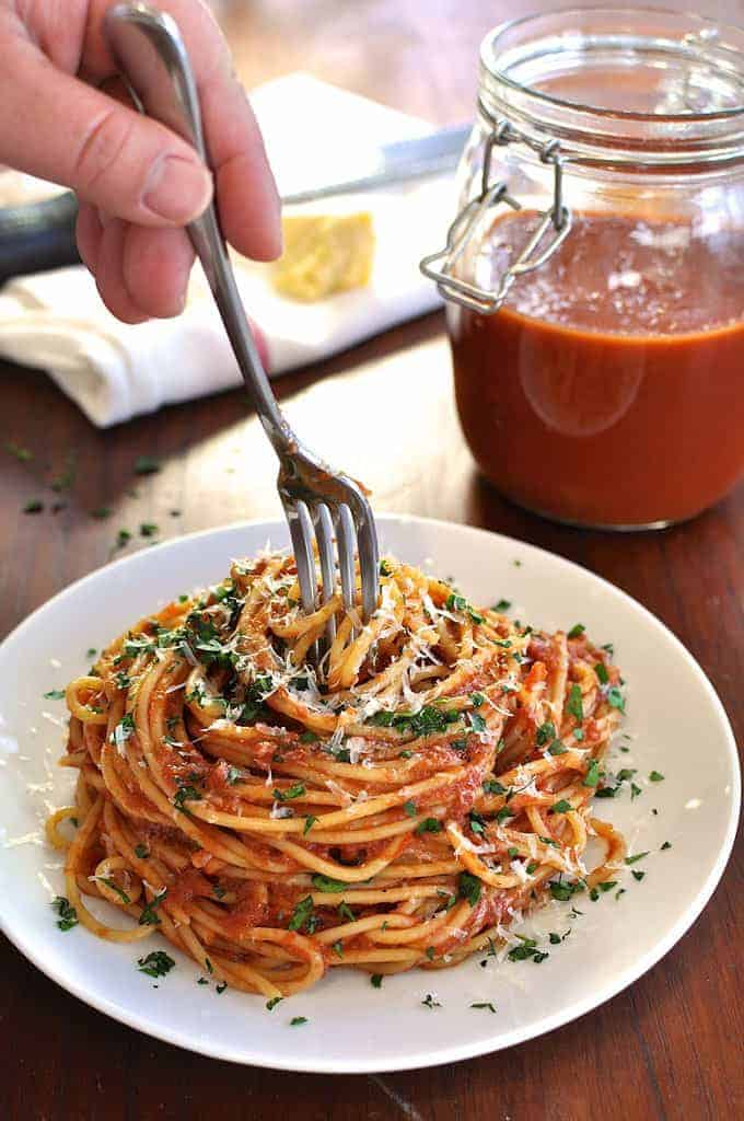 Slow Cooker Marinara Sauce served with pasta