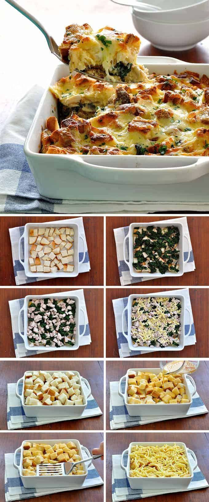 Spooning out Chicken and Spinach Strata, and process photos
