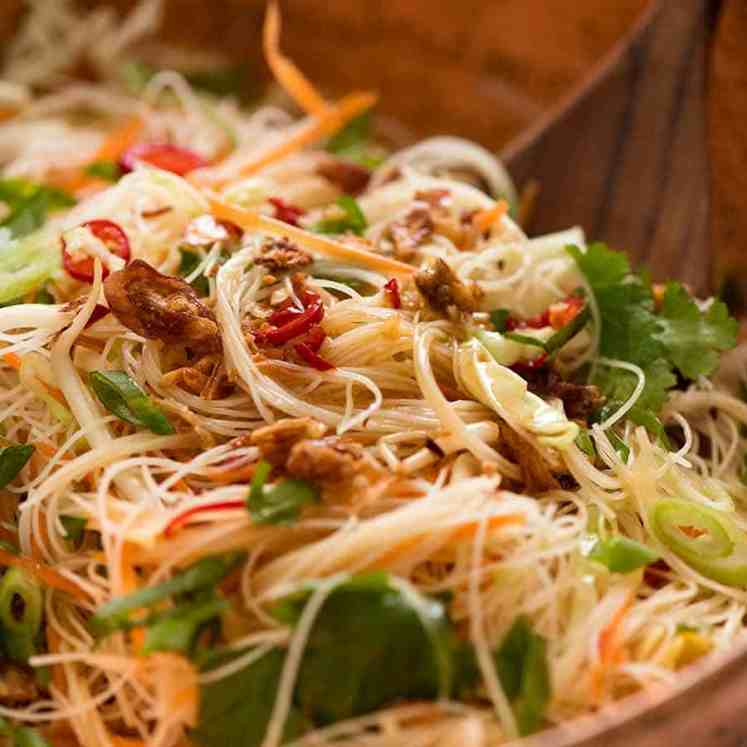Close up of Vermicelli Noodle Salad with cabbage, carrot, beansprouts, coriander, chilli with an Asian dressing