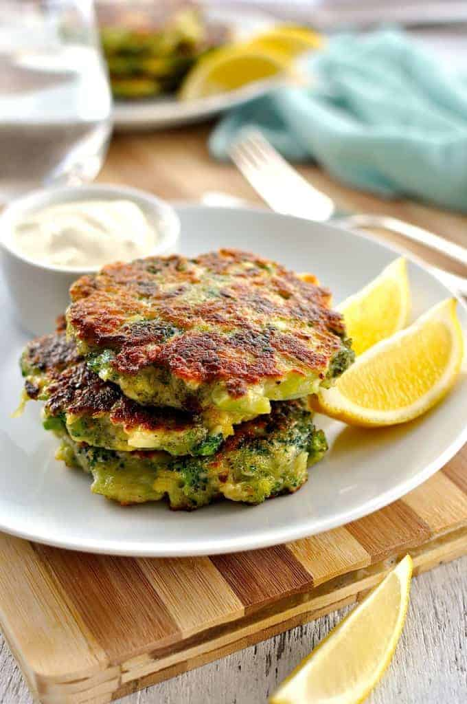 Closeup stack of Broccoli Fritters
