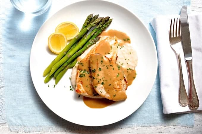 Chicken with Creamy Marsala Sauce, white bean puree and asparagus overhead photo
