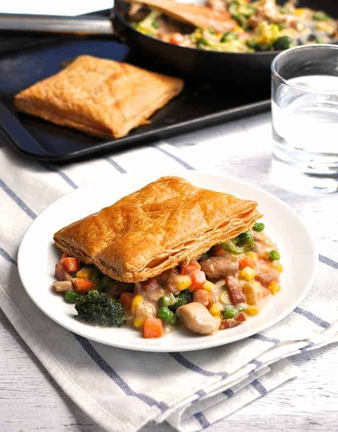 Quick Chicken Pot Pie on a white plate. u201c & Quick Chicken Pot Pie | RecipeTin Eats