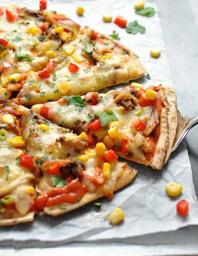 Closeup of Mexican Pizzas
