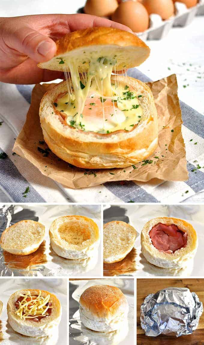 Closeup of No Washing Up Ham, Egg & Cheese Bread Bowls with lifted lid, and process photos