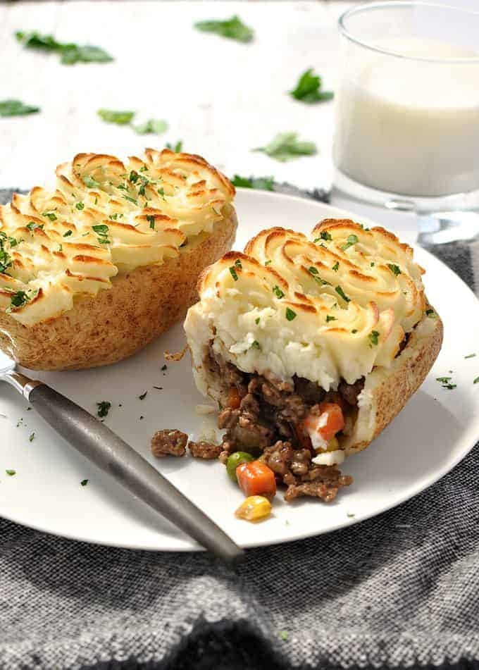Shepherd's Pie Potato Skins, one cut open