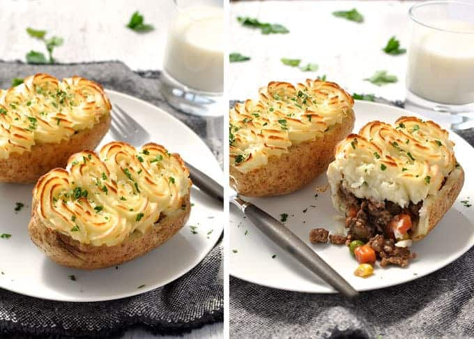 Shepherd's Pie Potato Skins - creative spin on the classic. These take just 15 minutes to pop into the oven. #potato #baked #potato_skin #cottage_pie