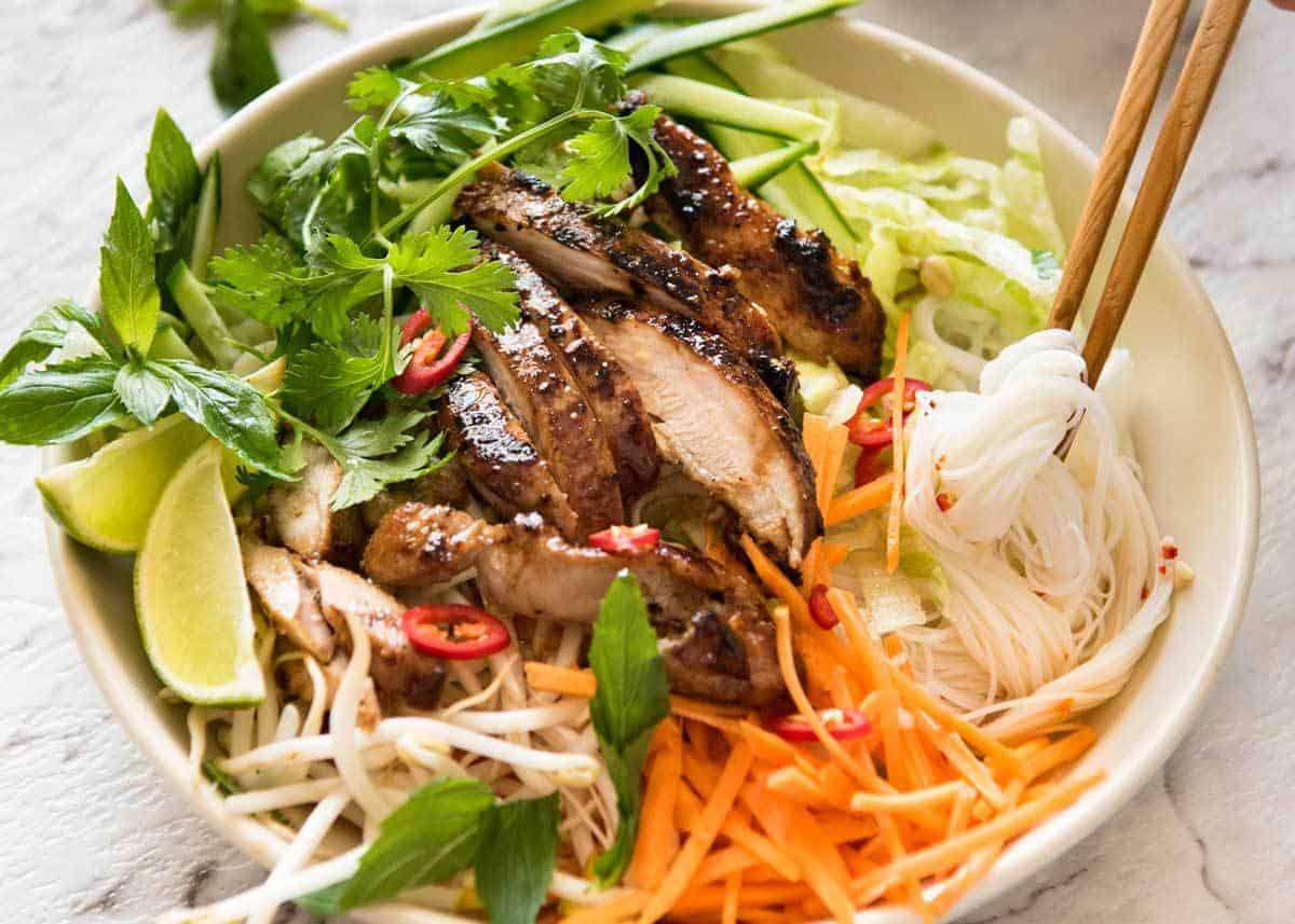 Vietnamese Noodles with Lemongrass Chicken | RecipeTin Eats