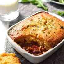 Chili Con Carne Corn Bread Pie - the cornbread batter takes just minutes to make!