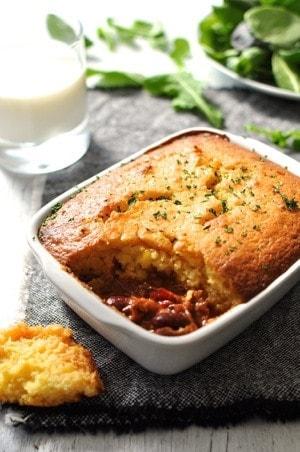 Chili Con Carne Corn Bread Pie in a baking dish