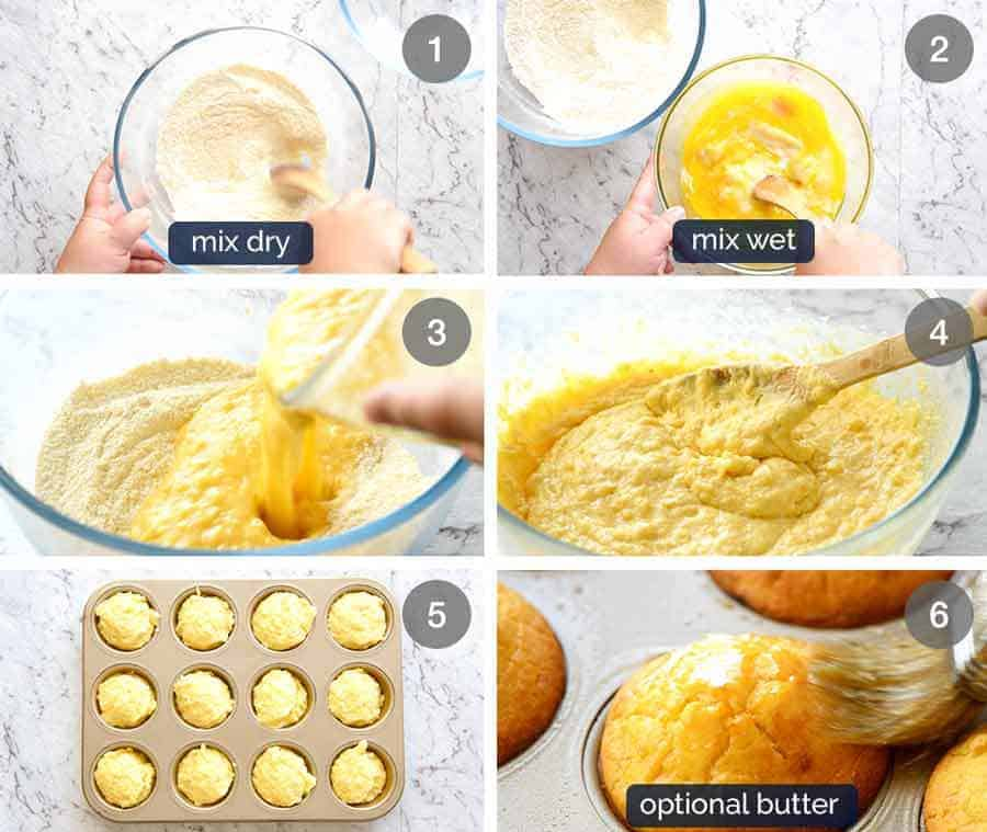 Preparation steps for Cornbread Muffins