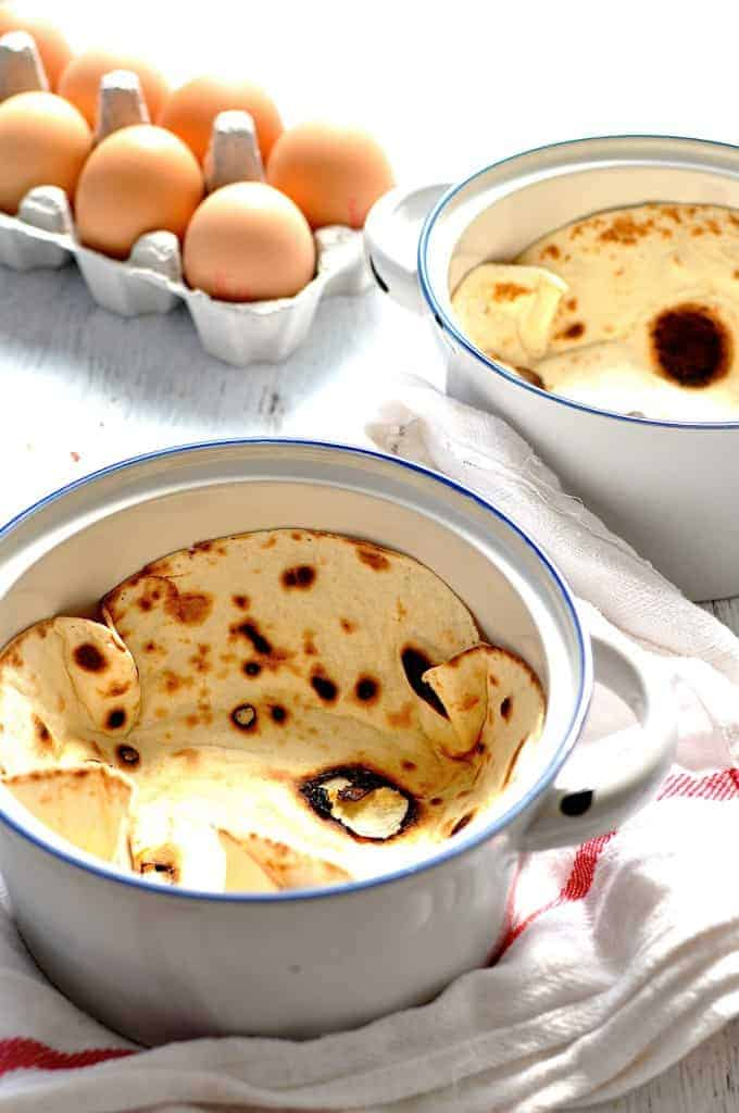 Tortilla bowls that are perfect for tearing bits off to scoop up the tomato bean filling and egg! #mexican #breakfast #brunch #tortilla