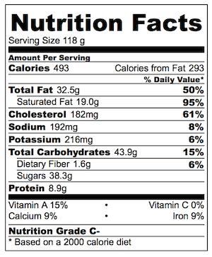 Peanut Butter Chocolate Molten Lava Cake Nutrition