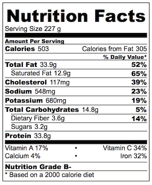 Shredded Beef Chili Con Carne Nutrition