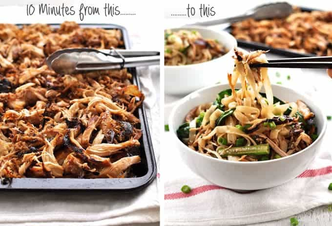 Tray of crispy shredded Chinese Chicken and Crispy Shredded Chicken Noodle Stir Fry in a bowl