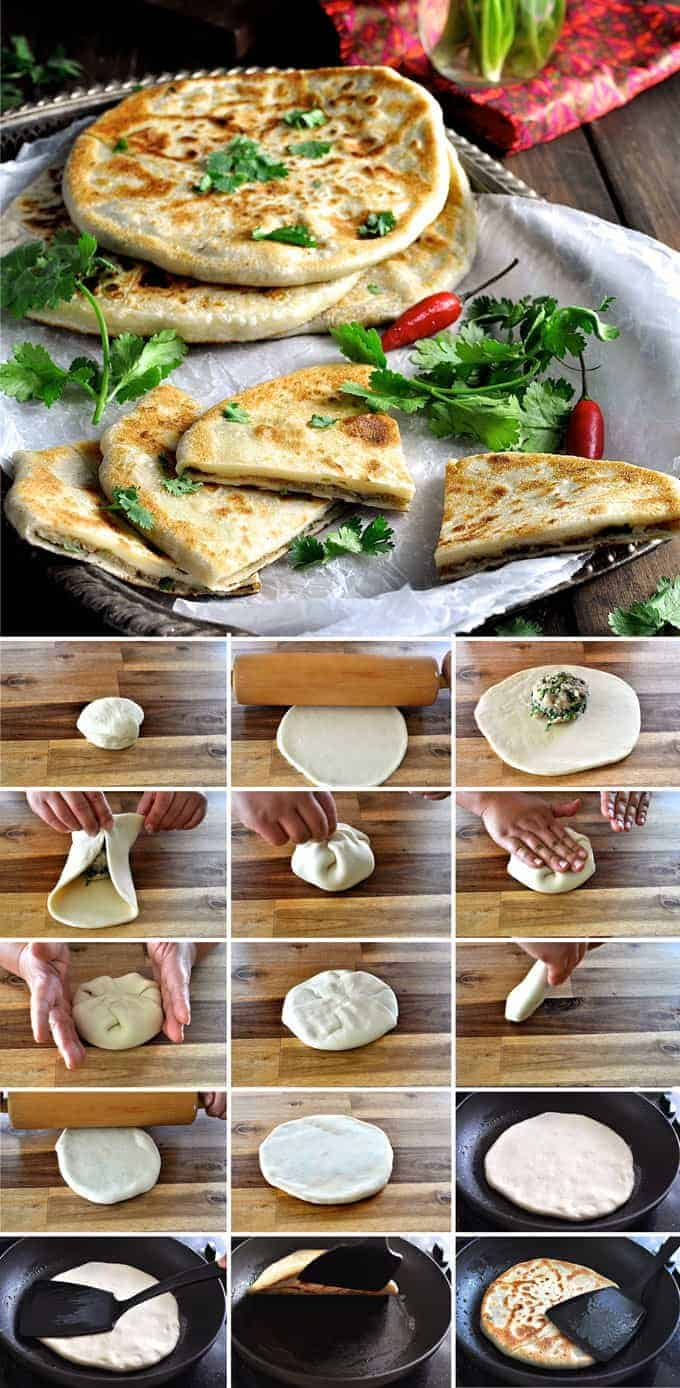Preparation steps to make Aloo Paratha, Indian Stuffed Flatbreads filled with potato and spiced beef.