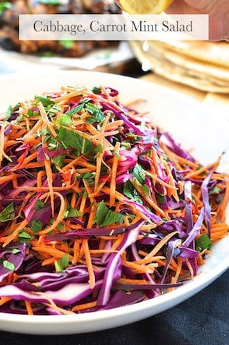 Arabian Feast (1 hr prep): Shredded Red Cabbage, Carrot and Mint Salad