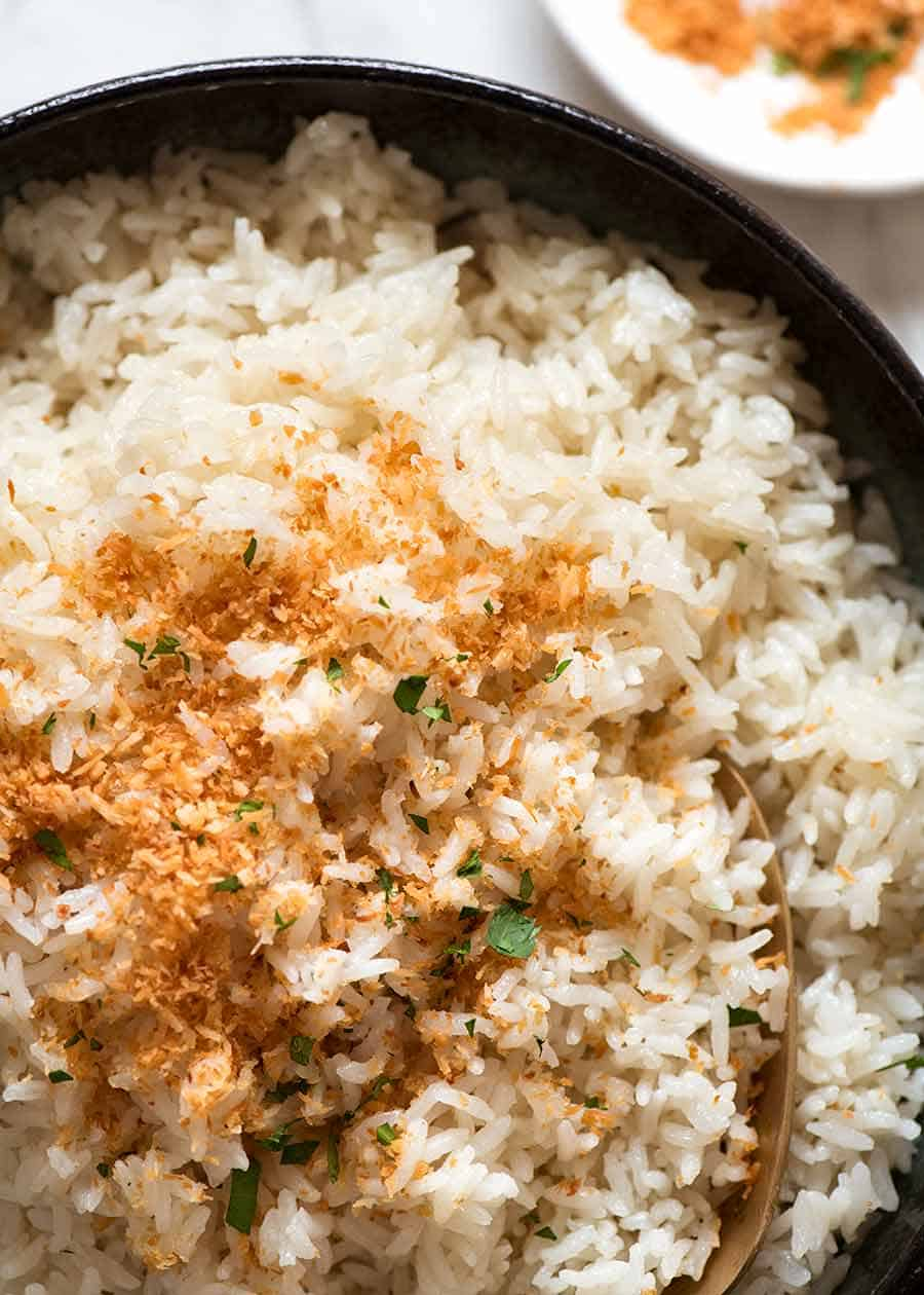 Overhead close up photo of rice made with coconut milk