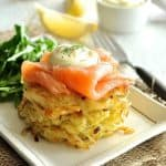 Smoked Salmon Potato Rosti Stack (Hash Brown) - perfect for a lazy brunch. The potato rosti can be made the day before then reheat in a hot oven to make them crisp again.