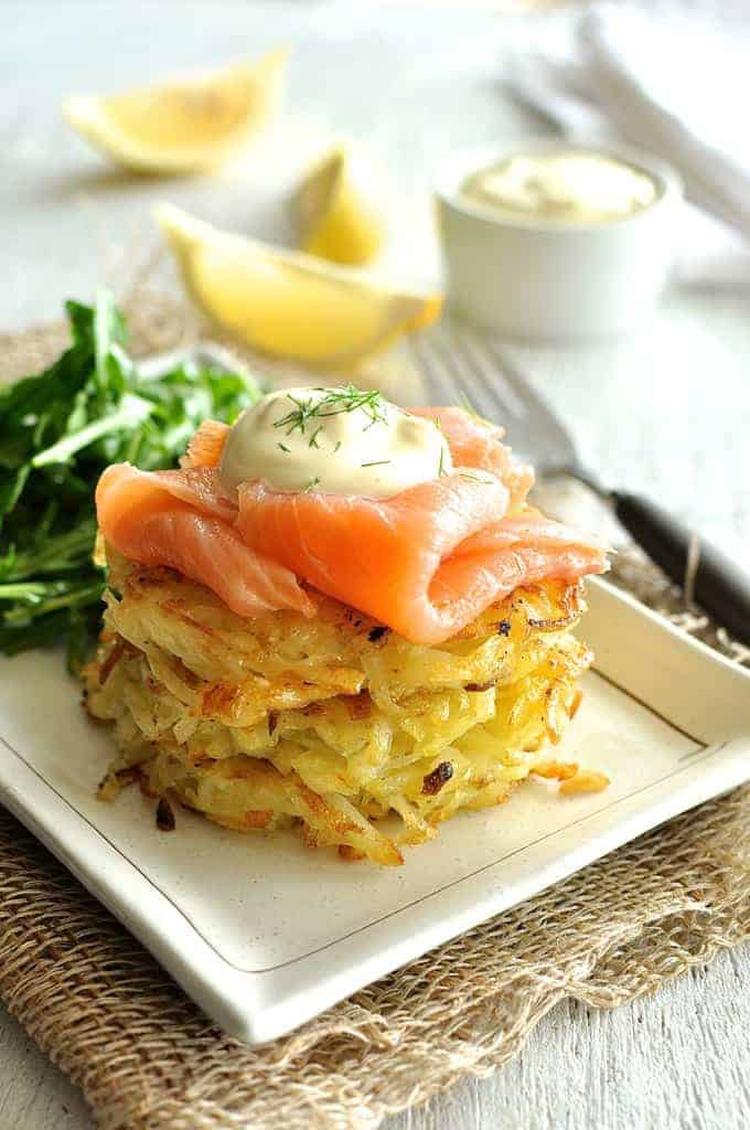Smoked salmon potato rosti stack good food made quick for Breakfast canape