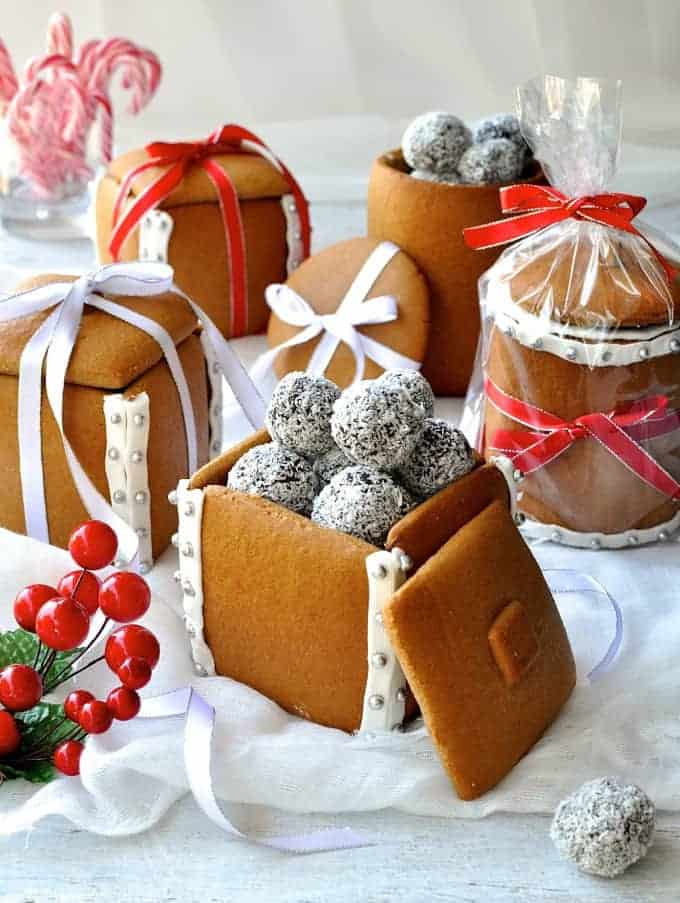 Easy Chocolate Truffles filling Gingerbread Boxes and Mason Jars