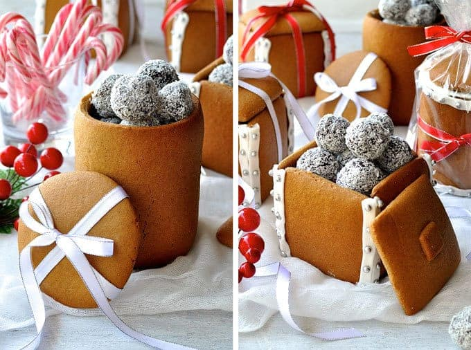 Gingerbread Boxes and Mason Jars - completely edible gifts! The jars are made by wrapping dough around a can. No cookie cutters, mixers or any special equipment required. Great edible Christmas gift idea!