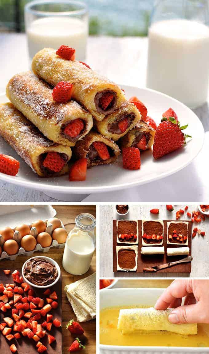 Strawberry Nutella French Toast Roll Ups - just a handful of ingredients to make these in 15 minutes. They taste like doughnuts! recipetineats.com