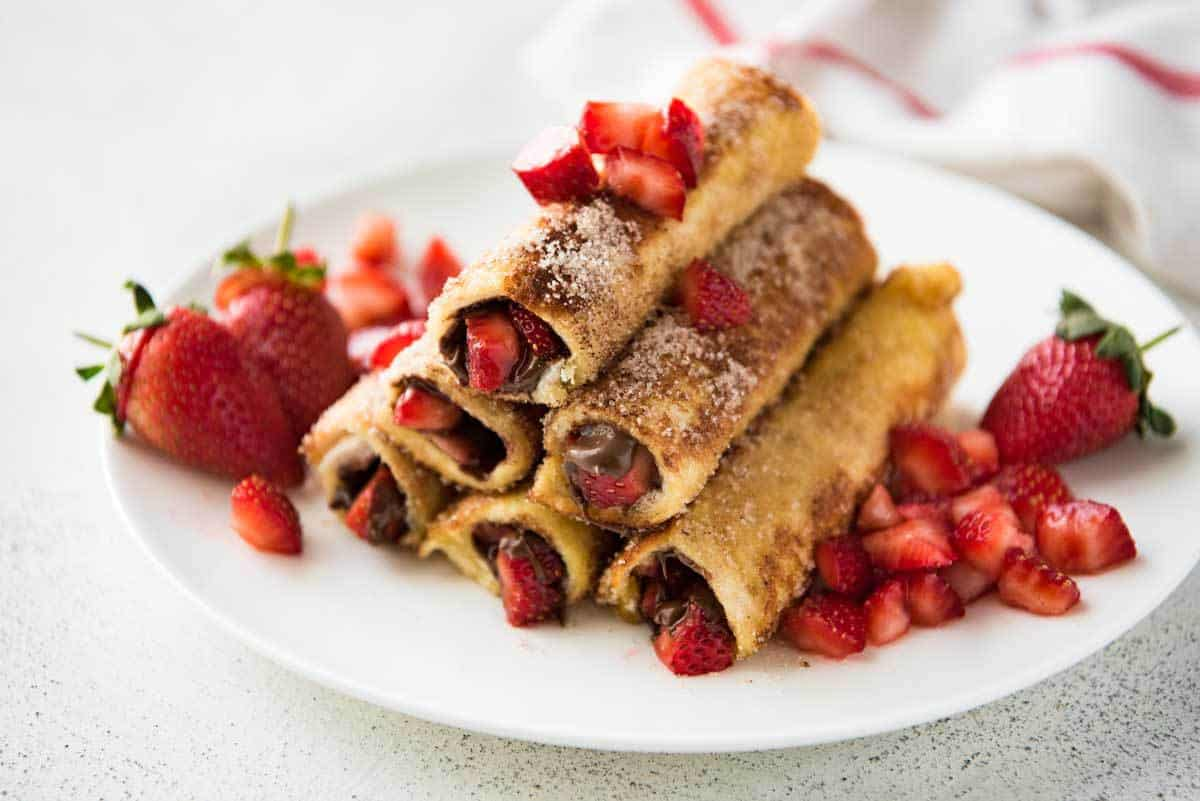 Strawberry Nutella French Toast Roll Ups | RecipeTin Eats