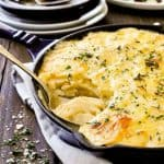 Julia Child's Potato Gratin Dauphinois - so easy to make, incredibly indulgent and creamy. Reheats extremely well.