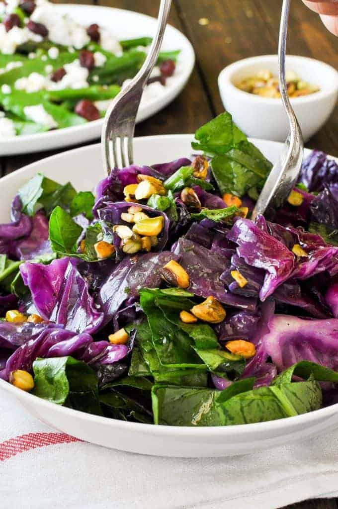 Garlic Butter Warm Red Cabbage Salad Recipetin Eats