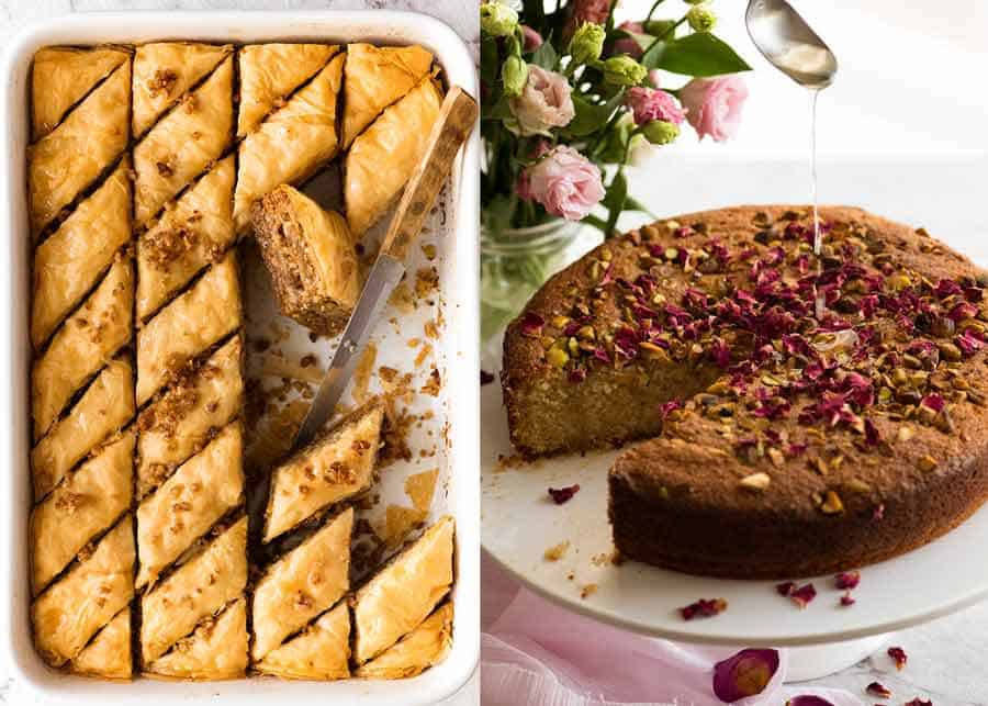 Desserts for Arabian Middle Eastern Meal - Baklava and Semolina Cake