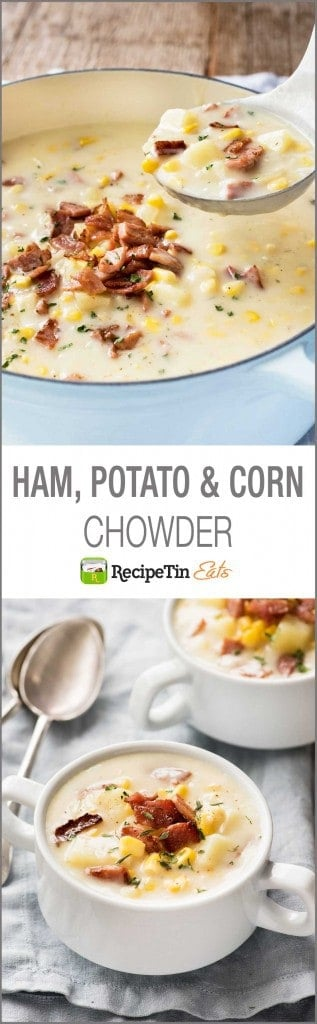 Ham Potato & Corn Chowder - who needs bacon when you have ham? Super creamy, but made without cream!