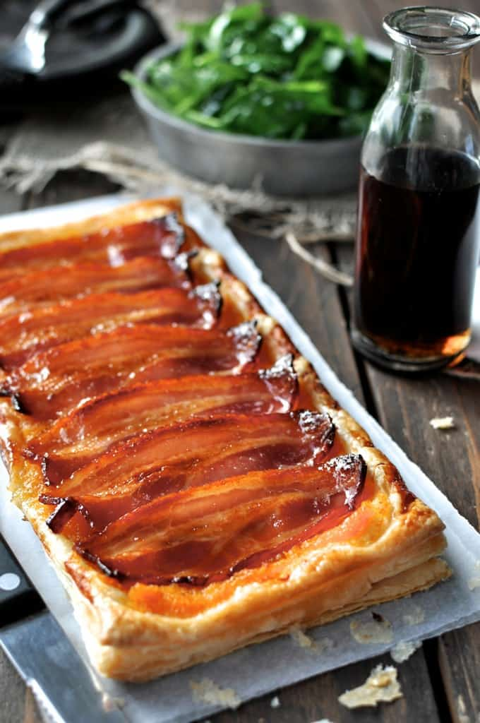 Bacon Tart fresh out of the oven, ready to be cut and served.