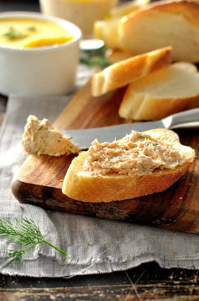 Elegant Smoked Trout Dip spread on crusty bread