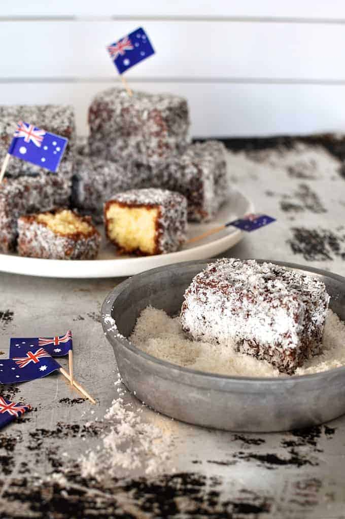 Lamingtons, and a lamington rolled in coconut