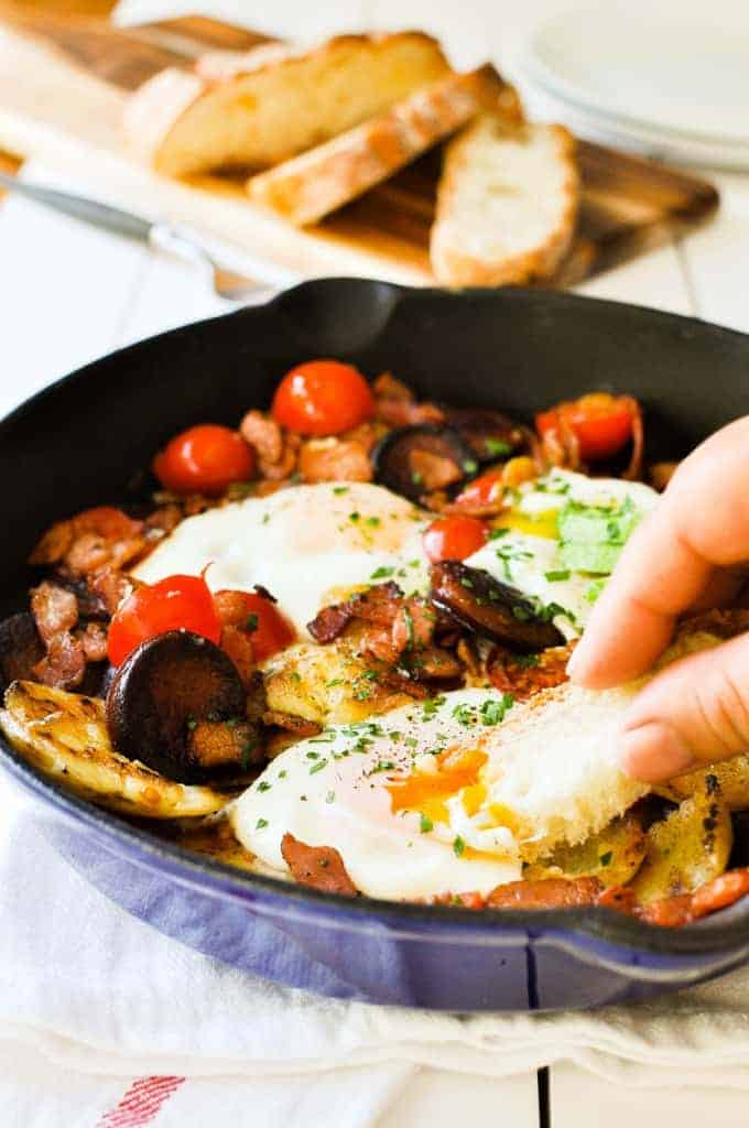 Chorizo Bacon Smashed Potato Breakfast Hash - crispy potatoes that are fluffy on the inside,  chorizo, bacon and egg. One pan, fully loaded breakfast!