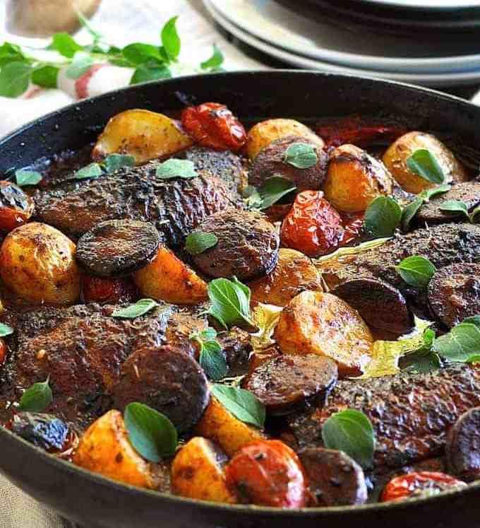 A pan of Spanish Chicken and Chorizo
