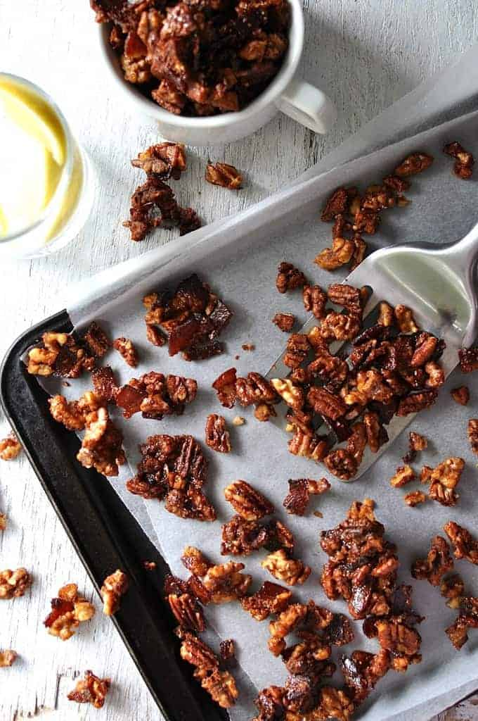 "Candied bacon with pecans and walnuts. ""Man Candy"". It couldn't ..."