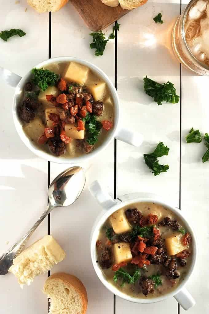 Overhead photo of cups of Lisa's Zuppa Toscana
