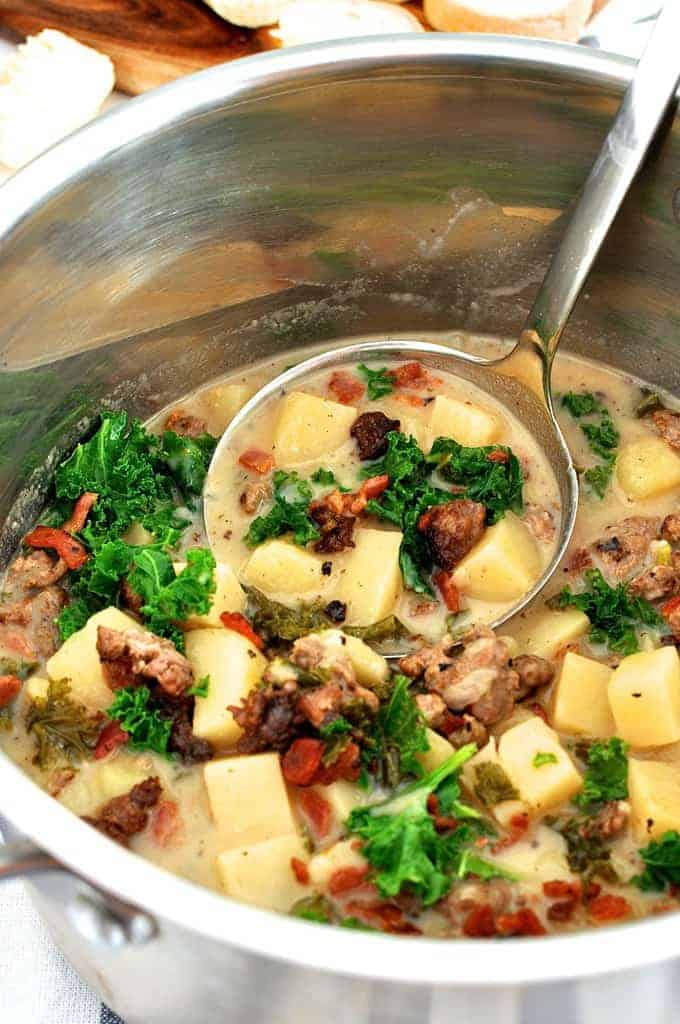 Lisa's Zuppa Toscana - Olive Garden Copycat, but so much better. Stove, slow cooker and oven directions provided, as well as lighter options.