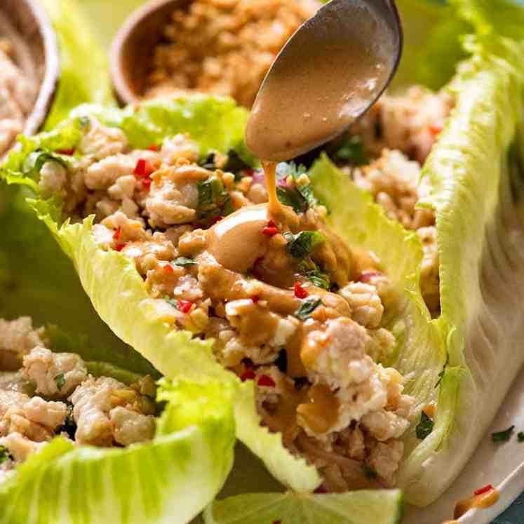 Drizzling Thai Peanut Sauce for Thai Lettuce Wraps
