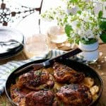 One Pan Rotisserie Chicken with Potato Gratin - two dishes in one pan! Chicken rubbed with rotisserie flavours and roasted on top of potato gratin. Fast and easy to prepare!
